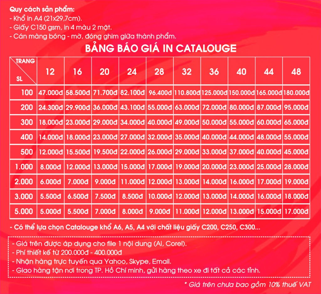 bang bao gia catalogue