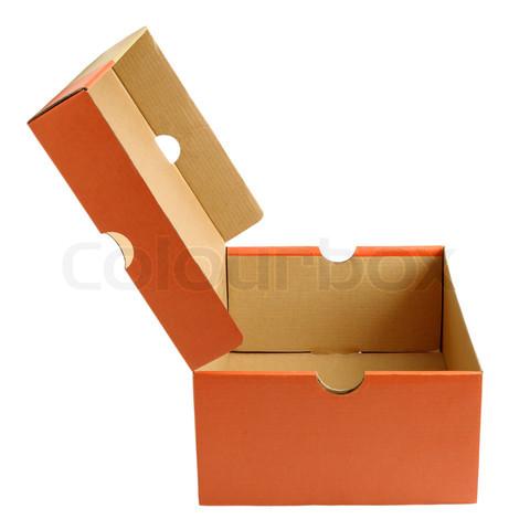 Open empty shoe cardboard box isolated on white background