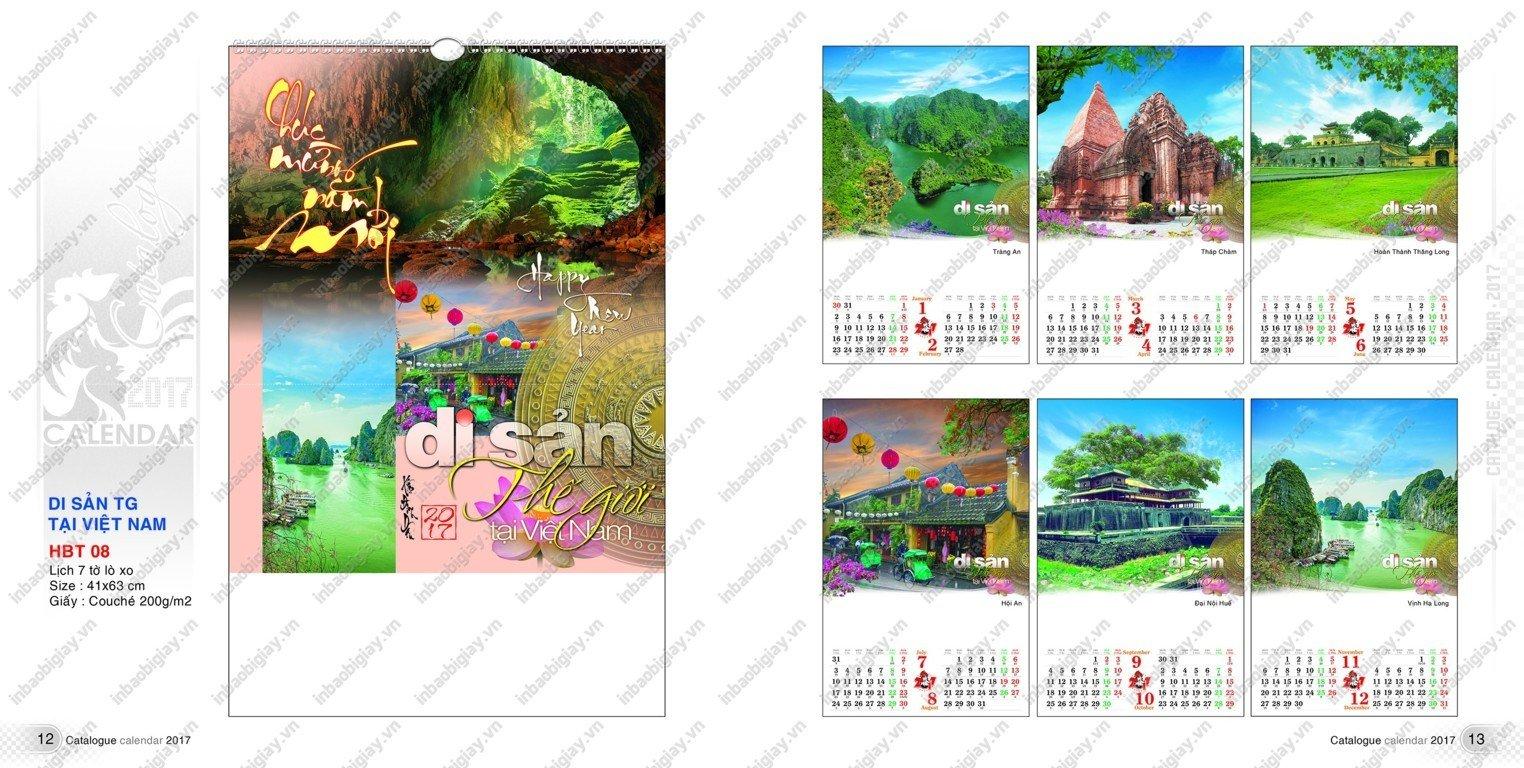 mẫu lịch tờ in ấn đẹp 2017