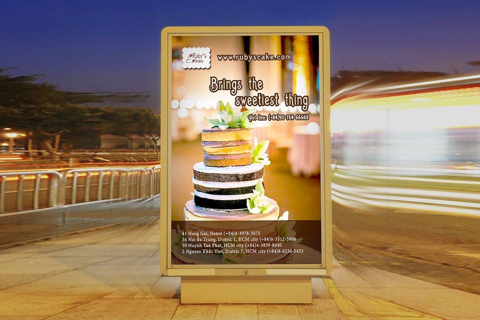 mẫu thiết kế poster quảng cáo bánh ngọt độc đáo